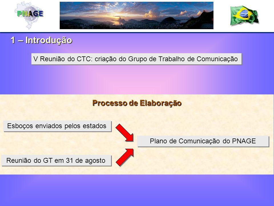 1 – Introdução Esboços enviados pelos estados Reunião do GT em 31 de agosto Plano de Comunicação do PNAGE Processo de Elaboração V Reunião do CTC: criação do Grupo de Trabalho de Comunicação