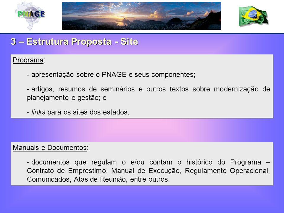 3 – Estrutura Proposta - Site Manuais e Documentos: - documentos que regulam o e/ou contam o histórico do Programa – Contrato de Empréstimo, Manual de