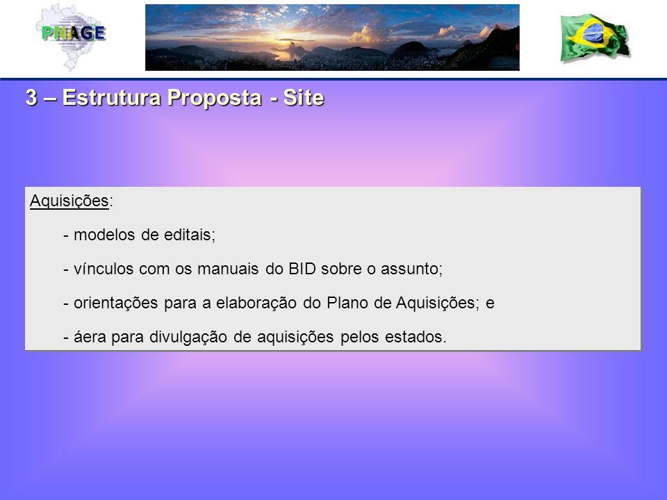 3 – Estrutura Proposta - Site Aquisições: - modelos de editais; - vínculos com os manuais do BID sobre o assunto; - orientações para a elaboração do Plano de Aquisições; e - áera para divulgação de aquisições pelos estados.