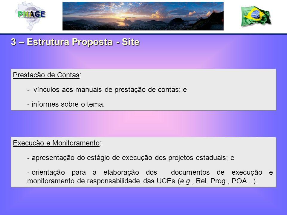 3 – Estrutura Proposta - Site Execução e Monitoramento: - apresentação do estágio de execução dos projetos estaduais; e - orientação para a elaboração