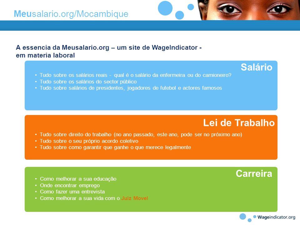 A essencia da Meusalario.org – um site de WageIndicator - em materia laboral Tudo sobre os salários reais - qual é o salário da enfermeira ou do camio
