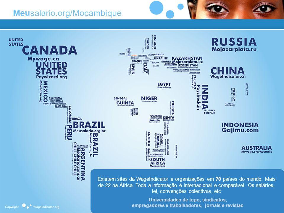 Existem sites da WageIndicator e organizações em 70 países do mundo. Mais de 22 na África. Toda a informação é internacional e comparável. Os salários