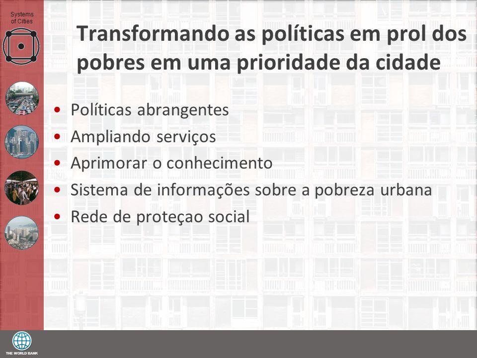 THE WORLD BANK Systems of Cities Transformando as políticas em prol dos pobres em uma prioridade da cidade Políticas abrangentes Ampliando serviços Ap