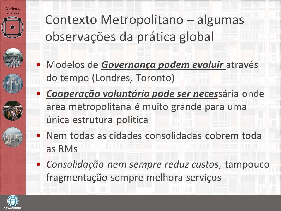 THE WORLD BANK Systems of Cities Contexto Metropolitano – algumas observações da prática global Modelos de Governança podem evoluir através do tempo (
