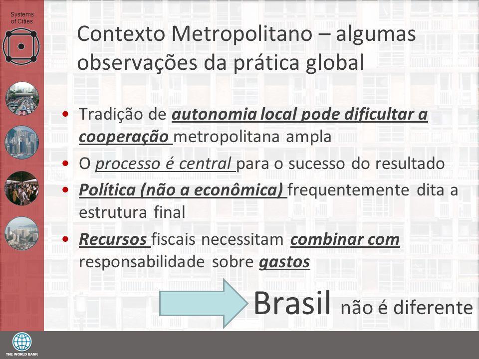 THE WORLD BANK Systems of Cities Contexto Metropolitano – algumas observações da prática global Tradição de autonomia local pode dificultar a cooperaç