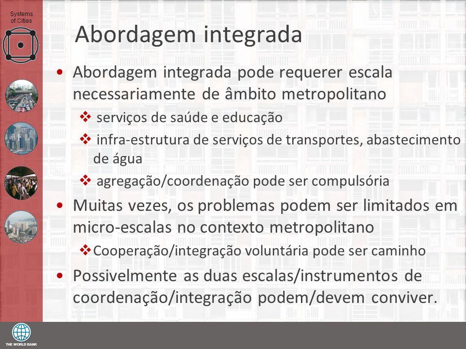 THE WORLD BANK Systems of Cities Abordagem integrada Abordagem integrada pode requerer escala necessariamente de âmbito metropolitano serviços de saúd