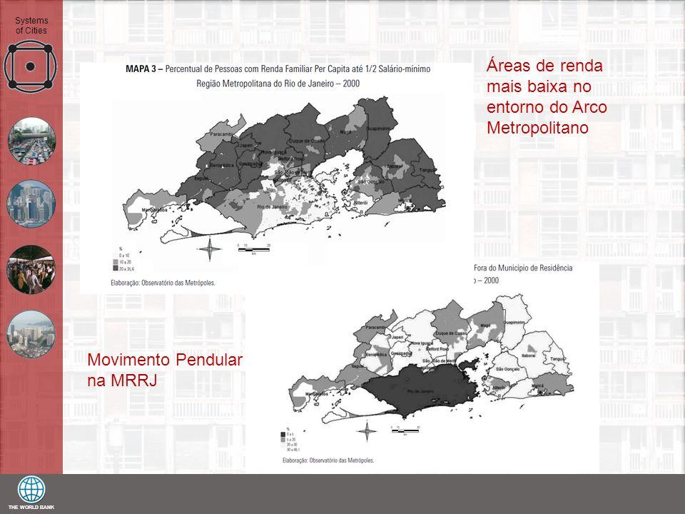 THE WORLD BANK Systems of Cities Áreas de renda mais baixa no entorno do Arco Metropolitano Movimento Pendular na MRRJ