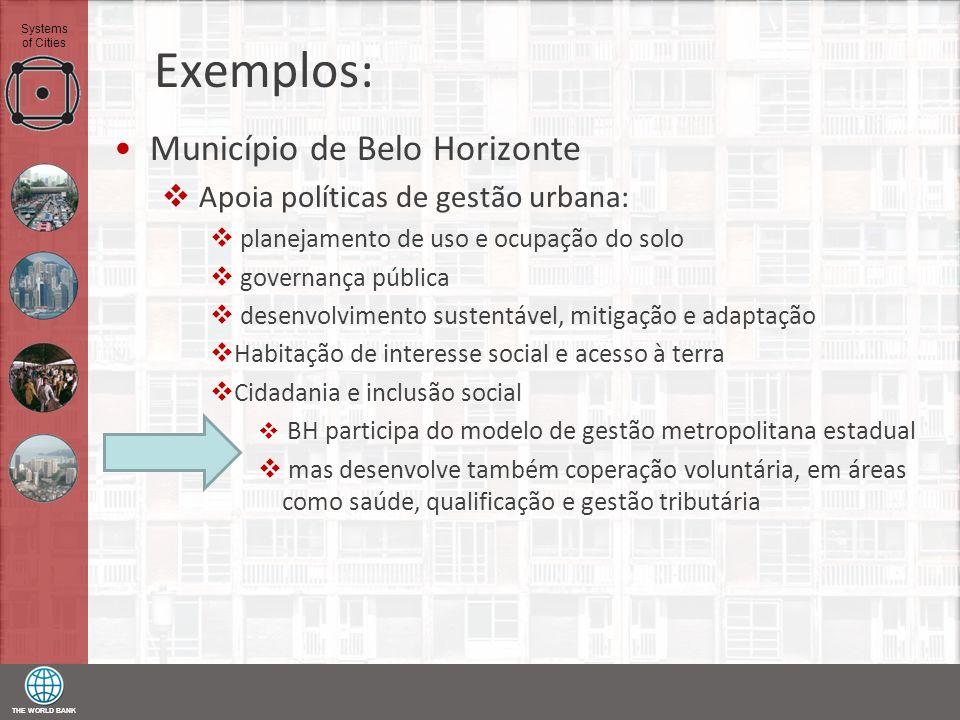 THE WORLD BANK Systems of Cities Exemplos: Município de Belo Horizonte Apoia políticas de gestão urbana: planejamento de uso e ocupação do solo govern