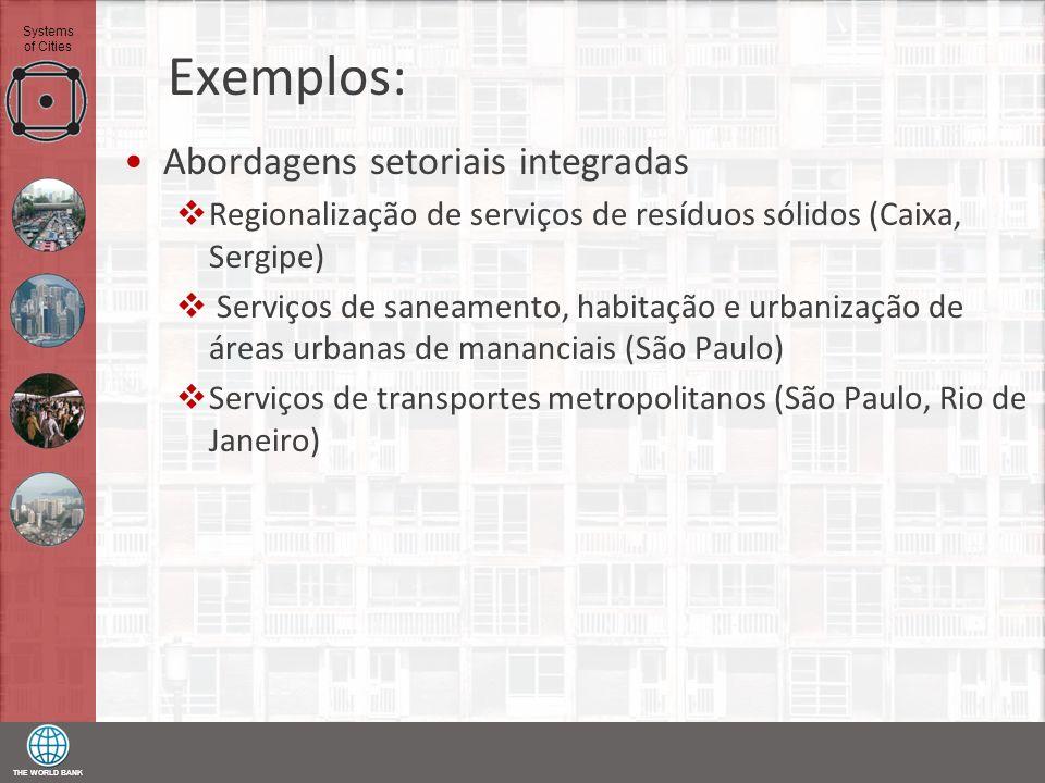 THE WORLD BANK Systems of Cities Exemplos: Abordagens setoriais integradas Regionalização de serviços de resíduos sólidos (Caixa, Sergipe) Serviços de