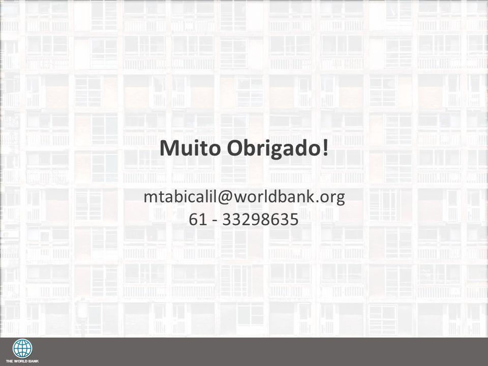 THE WORLD BANK Muito Obrigado! mtabicalil@worldbank.org 61 - 33298635