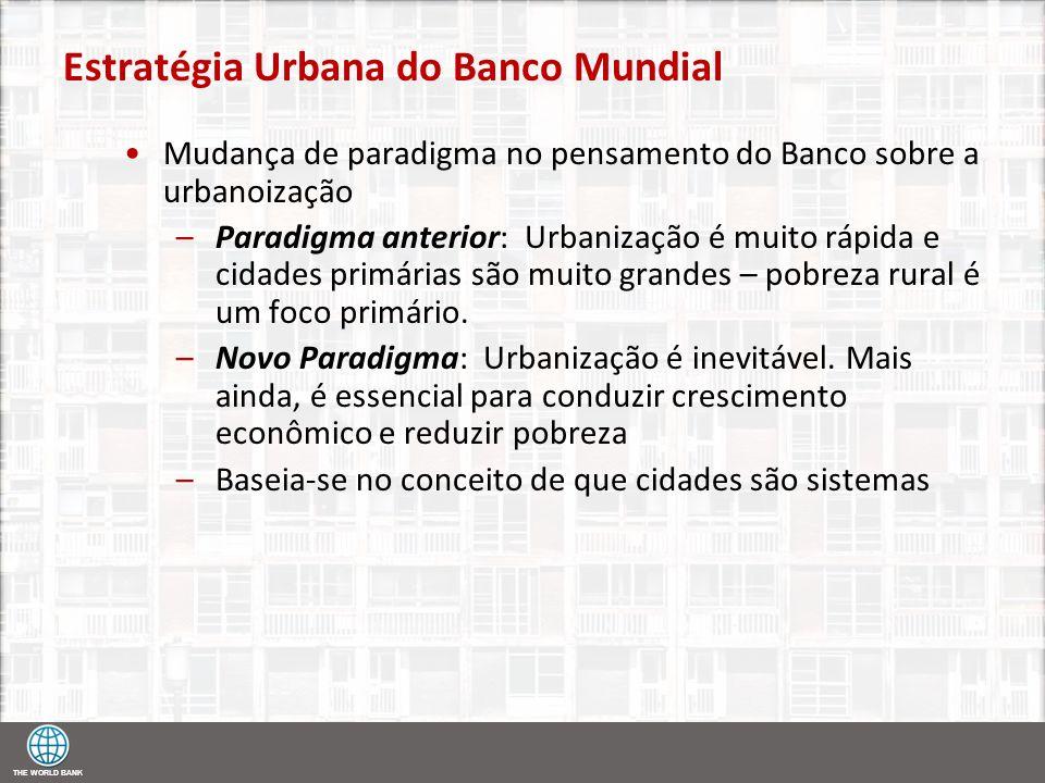 THE WORLD BANK Estratégia Urbana do Banco Mundial Mudança de paradigma no pensamento do Banco sobre a urbanoização –Paradigma anterior: Urbanização é