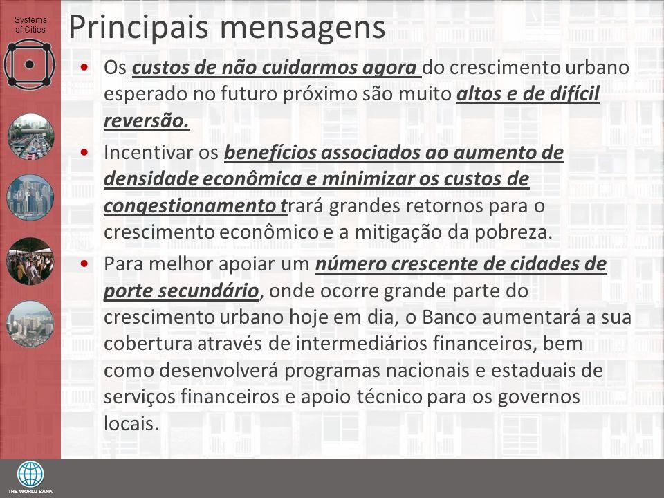 THE WORLD BANK Systems of Cities Principais mensagens Os custos de não cuidarmos agora do crescimento urbano esperado no futuro próximo são muito alto