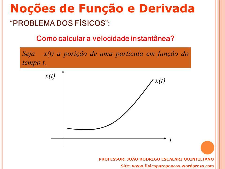PROBLEMA DOS FÍSICOS: Como calcular a velocidade instantânea? Seja x(t) a posição de uma partícula em função do tempo t. t x(t) PROFESSOR: JOÃO RODRIG