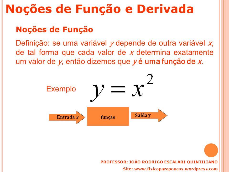 Noções de Função e Derivada Noções de Função Definição: se uma variável y depende de outra variável x, de tal forma que cada valor de x determina exat