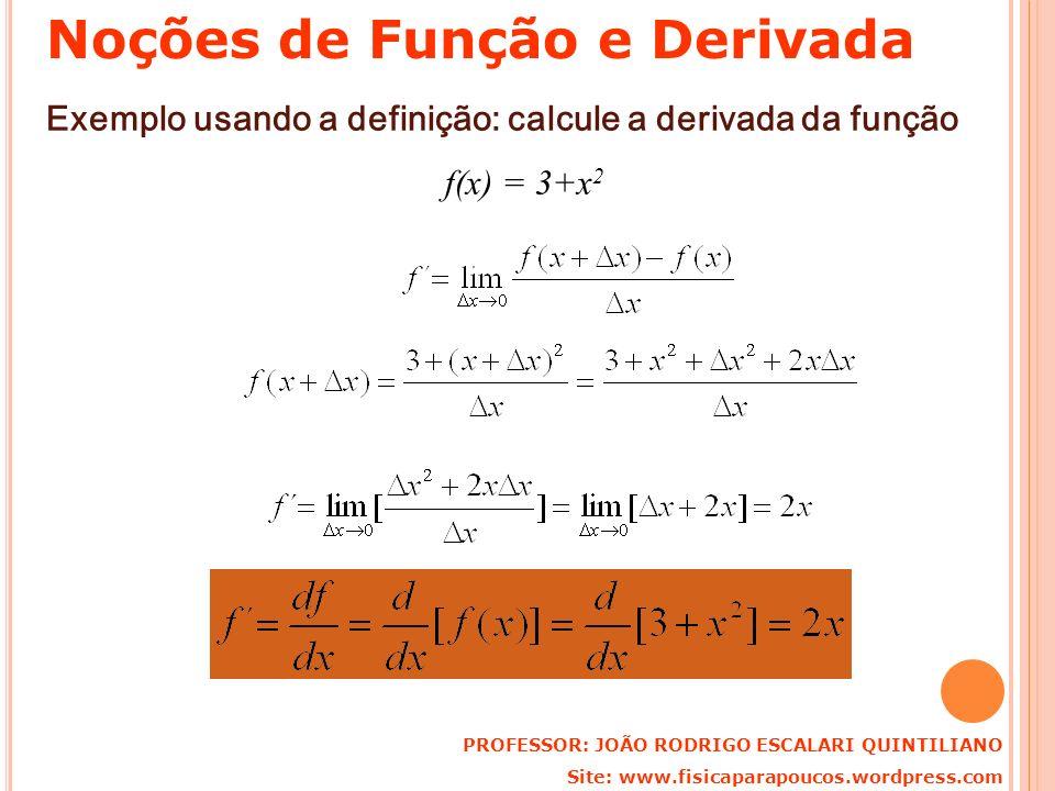 Exemplo usando a definição: calcule a derivada da função f(x) = 3+x 2 PROFESSOR: JOÃO RODRIGO ESCALARI QUINTILIANO Site: www.fisicaparapoucos.wordpres