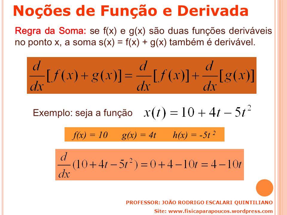 Regra da Soma: se f(x) e g(x) são duas funções deriváveis no ponto x, a soma s(x) = f(x) + g(x) também é derivável. Exemplo: seja a função f(x) = 10 g