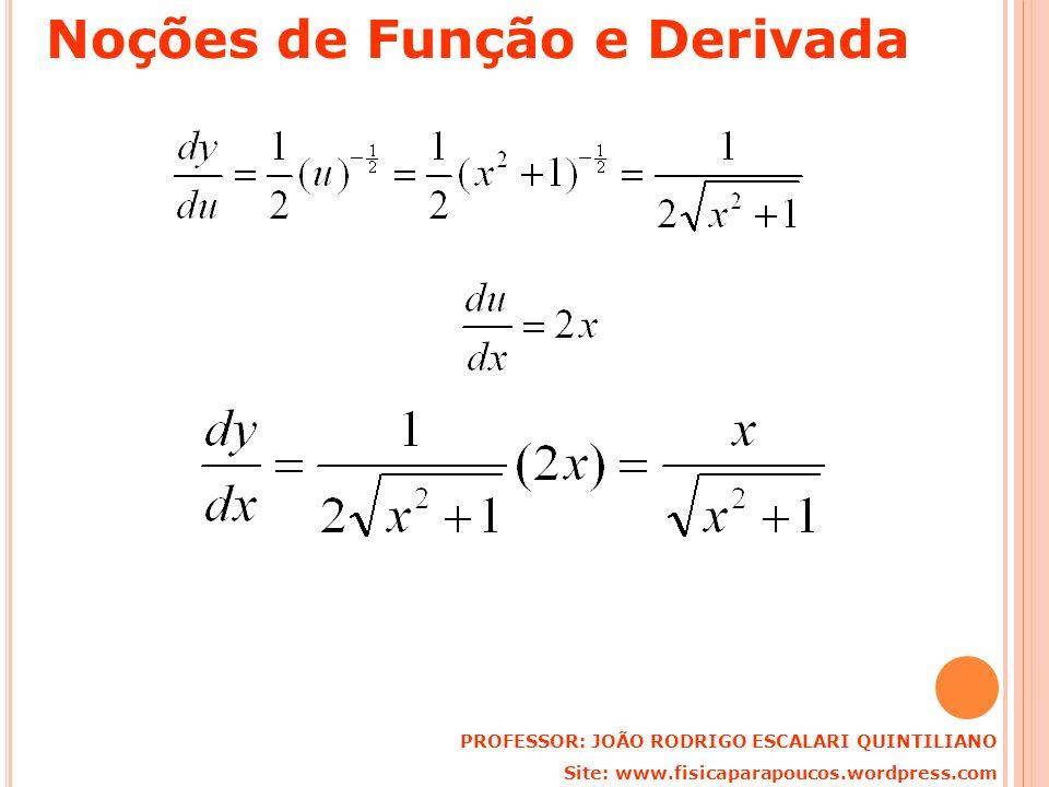 PROFESSOR: JOÃO RODRIGO ESCALARI QUINTILIANO Site: www.fisicaparapoucos.wordpress.com Noções de Função e Derivada