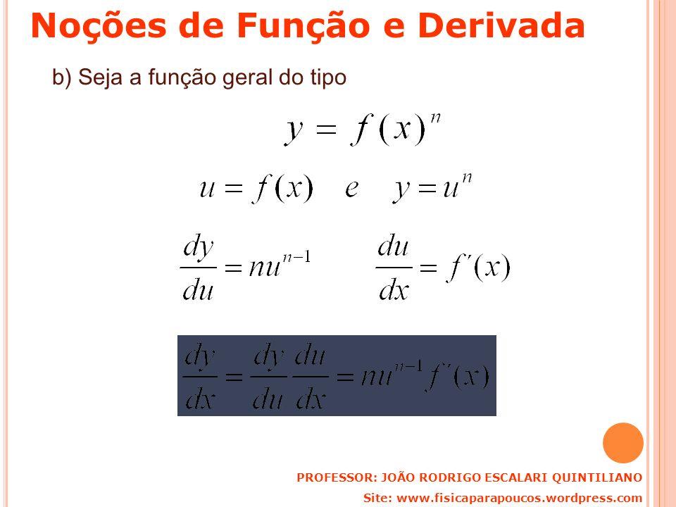b) Seja a função geral do tipo PROFESSOR: JOÃO RODRIGO ESCALARI QUINTILIANO Site: www.fisicaparapoucos.wordpress.com Noções de Função e Derivada
