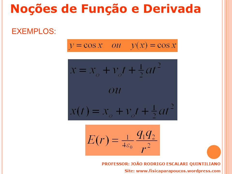 EXEMPLOS: PROFESSOR: JOÃO RODRIGO ESCALARI QUINTILIANO Site: www.fisicaparapoucos.wordpress.com Noções de Função e Derivada