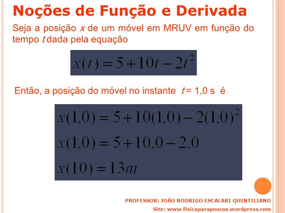 Seja a posição x de um móvel em MRUV em função do tempo t dada pela equação Então, a posição do móvel no instante t = 1,0 s é PROFESSOR: JOÃO RODRIGO