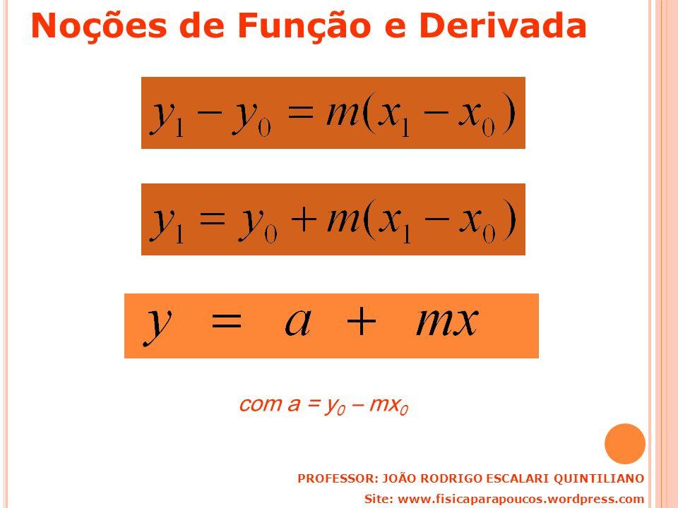 com a = y 0 – mx 0 PROFESSOR: JOÃO RODRIGO ESCALARI QUINTILIANO Site: www.fisicaparapoucos.wordpress.com Noções de Função e Derivada
