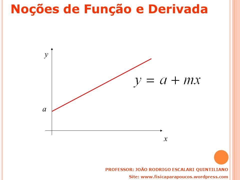 a x y PROFESSOR: JOÃO RODRIGO ESCALARI QUINTILIANO Site: www.fisicaparapoucos.wordpress.com Noções de Função e Derivada