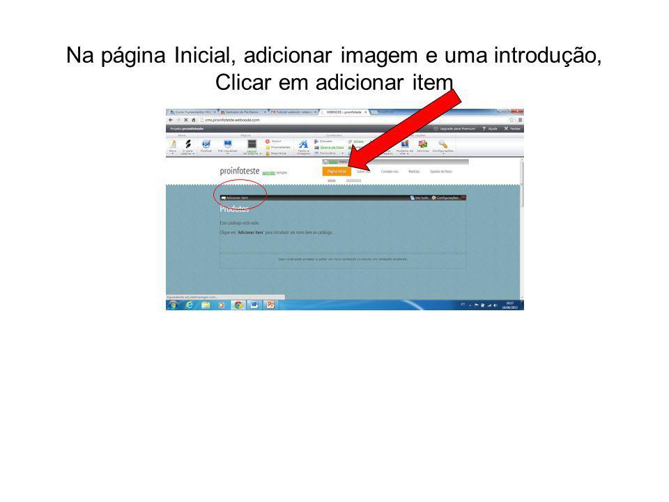 Na página Inicial, adicionar imagem e uma introdução, Clicar em adicionar item