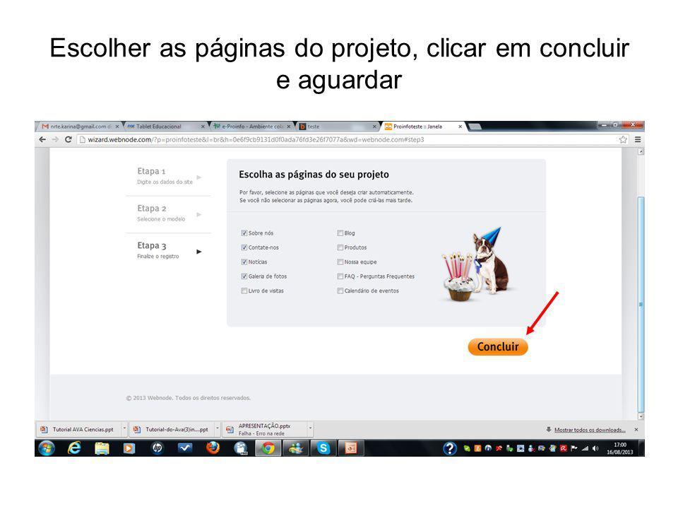 Escolher as páginas do projeto, clicar em concluir e aguardar