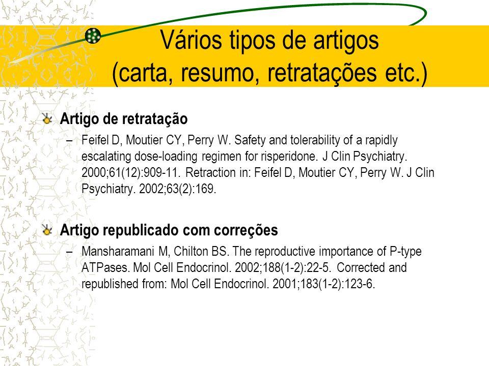 Vários tipos de artigos (carta, resumo, retratações etc.) Artigo de retratação –Feifel D, Moutier CY, Perry W. Safety and tolerability of a rapidly es