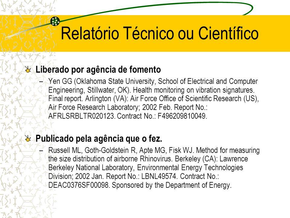 Relatório Técnico ou Científico Liberado por agência de fomento –Yen GG (Oklahoma State University, School of Electrical and Computer Engineering, Sti