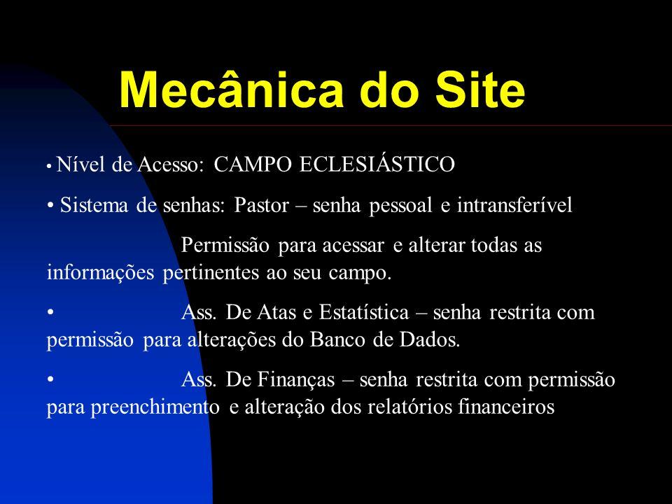 Mecânica do Site Nível de Acesso: CAMPO ECLESIÁSTICO Sistema de senhas: Pastor – senha pessoal e intransferível Permissão para acessar e alterar todas