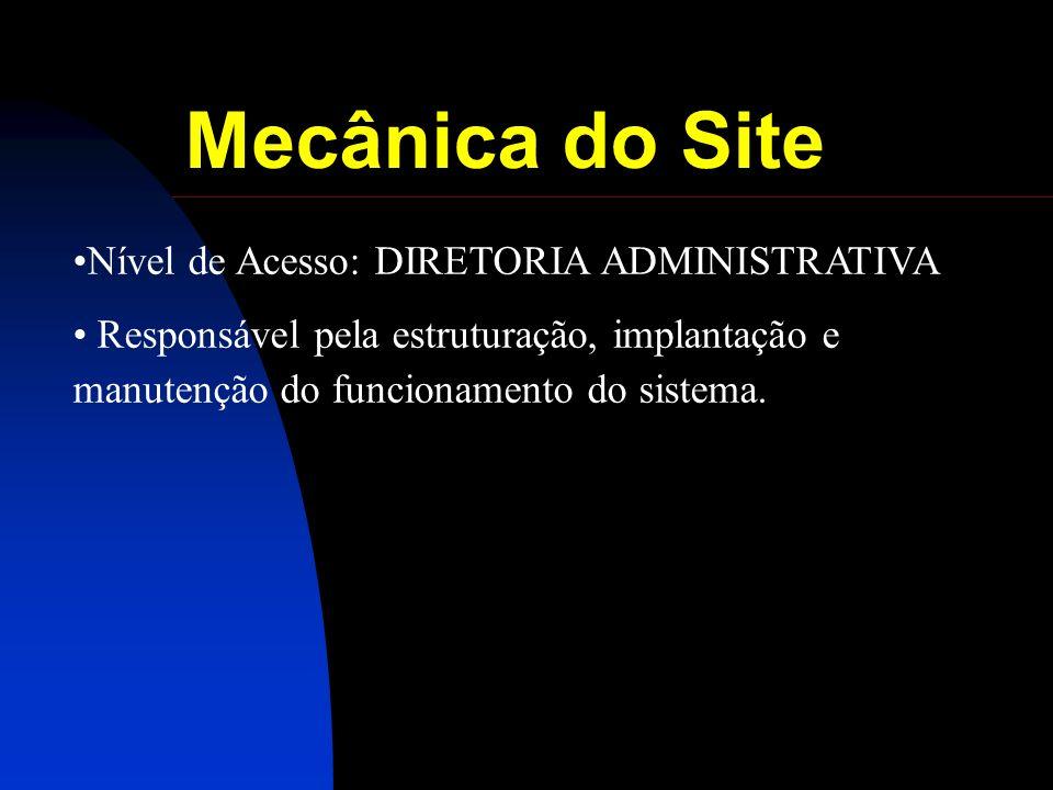 Mecânica do Site Nível de Acesso: DIRETORIA ADMINISTRATIVA Responsável pela estruturação, implantação e manutenção do funcionamento do sistema.
