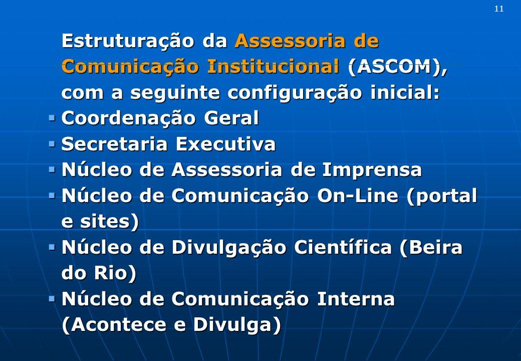 Estruturação da Assessoria de Comunicação Institucional (ASCOM), com a seguinte configuração inicial: Coordenação Geral Coordenação Geral Secretaria E