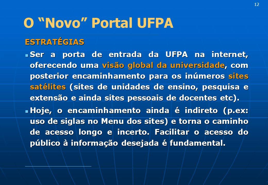 ESTRATÉGIAS ESTRATÉGIAS Ser a porta de entrada da UFPA na internet, oferecendo uma visão global da universidade, com posterior encaminhamento para os inúmeros sites satélites (sites de unidades de ensino, pesquisa e extensão e ainda sites pessoais de docentes etc).