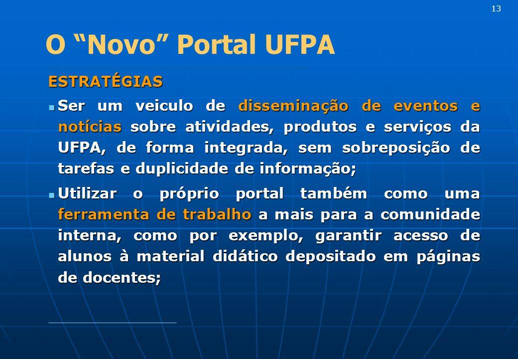 ESTRATÉGIAS ESTRATÉGIAS Ser um veiculo de disseminação de eventos e notícias sobre atividades, produtos e serviços da UFPA, de forma integrada, sem so