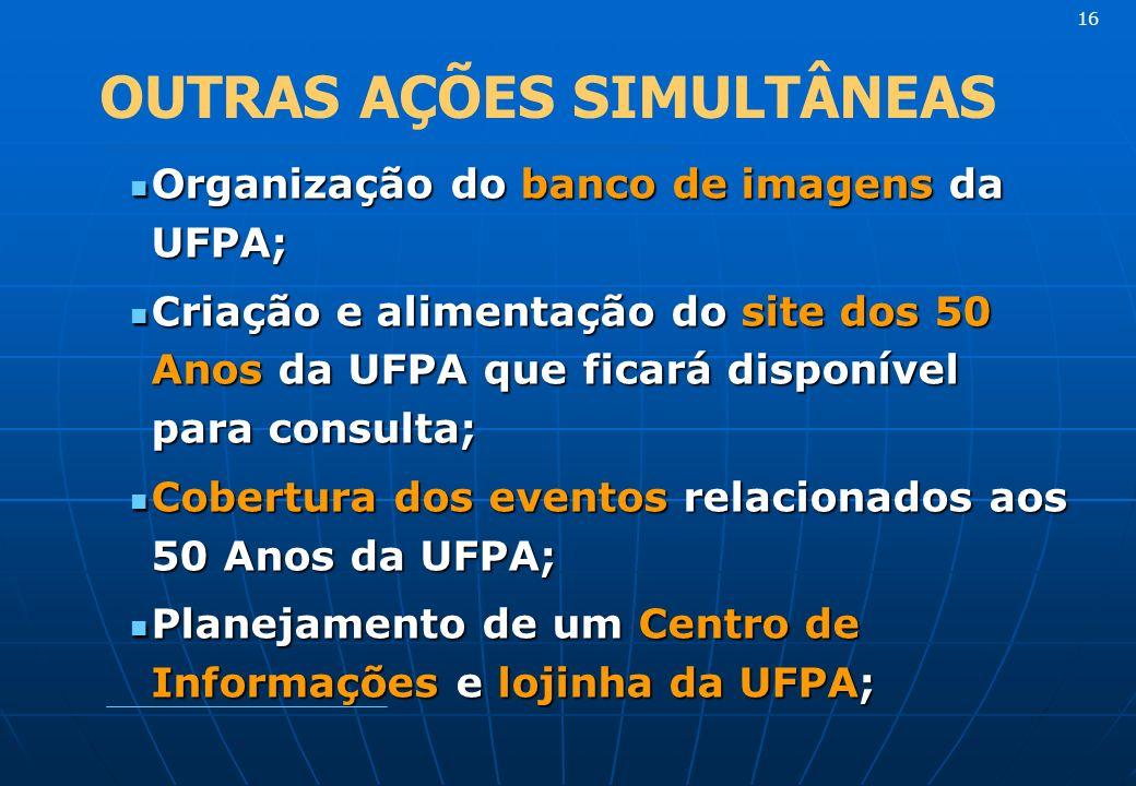 Organização do banco de imagens da UFPA; Organização do banco de imagens da UFPA; Criação e alimentação do site dos 50 Anos da UFPA que ficará disponível para consulta; Criação e alimentação do site dos 50 Anos da UFPA que ficará disponível para consulta; Cobertura dos eventos relacionados aos 50 Anos da UFPA; Cobertura dos eventos relacionados aos 50 Anos da UFPA; Planejamento de um Centro de Informações e lojinha da UFPA; Planejamento de um Centro de Informações e lojinha da UFPA; 16 OUTRAS AÇÕES SIMULTÂNEAS