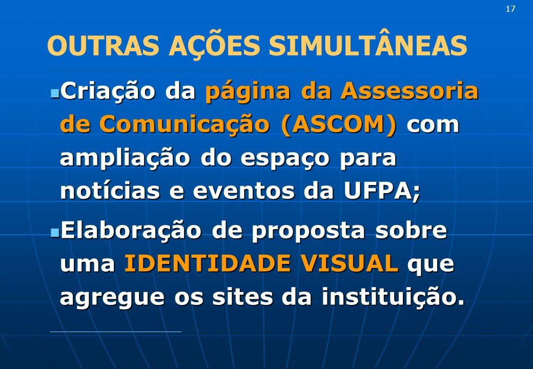 Criação da página da Assessoria de Comunicação (ASCOM) com ampliação do espaço para notícias e eventos da UFPA; Criação da página da Assessoria de Comunicação (ASCOM) com ampliação do espaço para notícias e eventos da UFPA; Elaboração de proposta sobre uma IDENTIDADE VISUAL que agregue os sites da instituição.