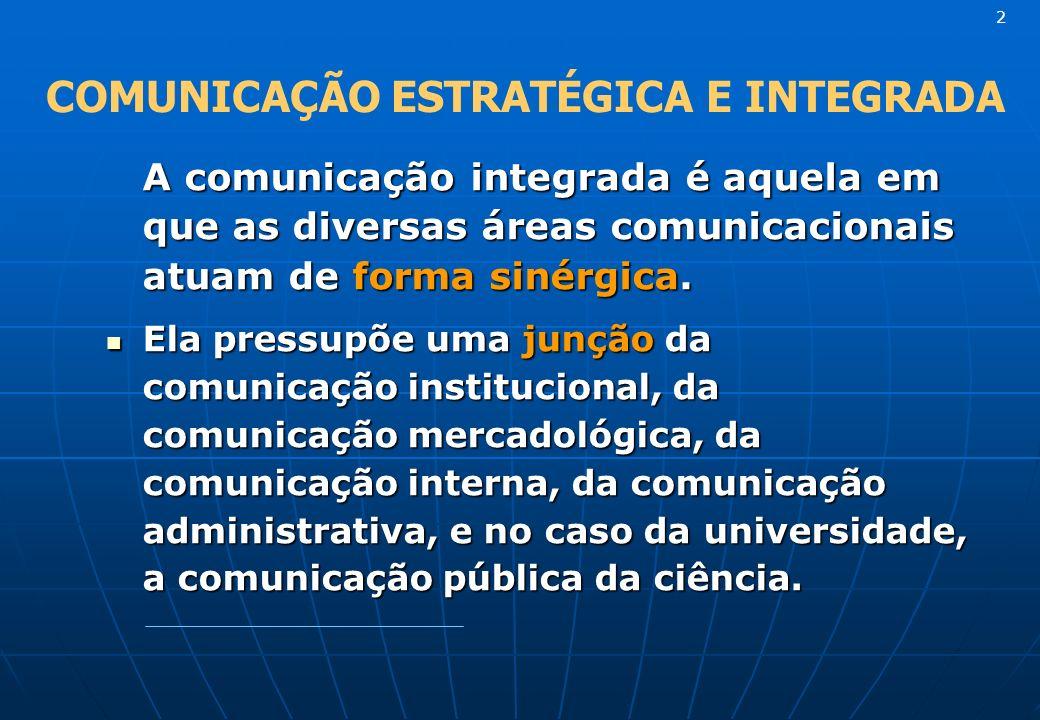 A comunicação integrada é aquela em que as diversas áreas comunicacionais atuam de forma sinérgica. Ela pressupõe uma junção da comunicação institucio