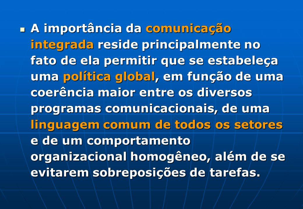 A importância da comunicação integrada reside principalmente no fato de ela permitir que se estabeleça uma política global, em função de uma coerência