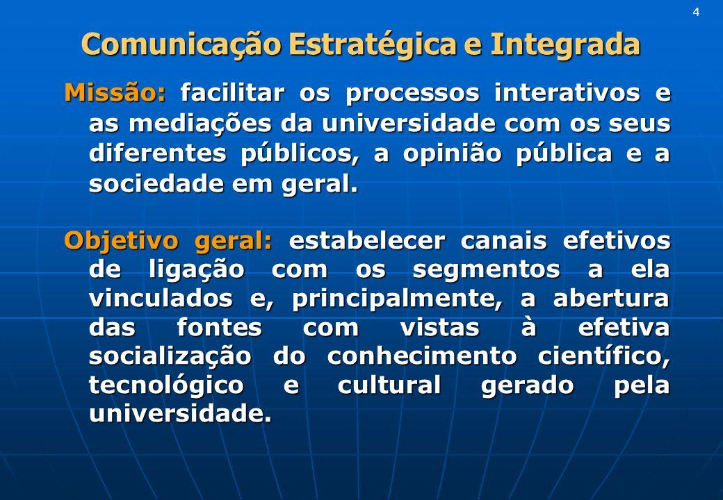 Comunicação Estratégica e Integrada Comunicação Estratégica e Integrada Missão: facilitar os processos interativos e as mediações da universidade com os seus diferentes públicos, a opinião pública e a sociedade em geral.