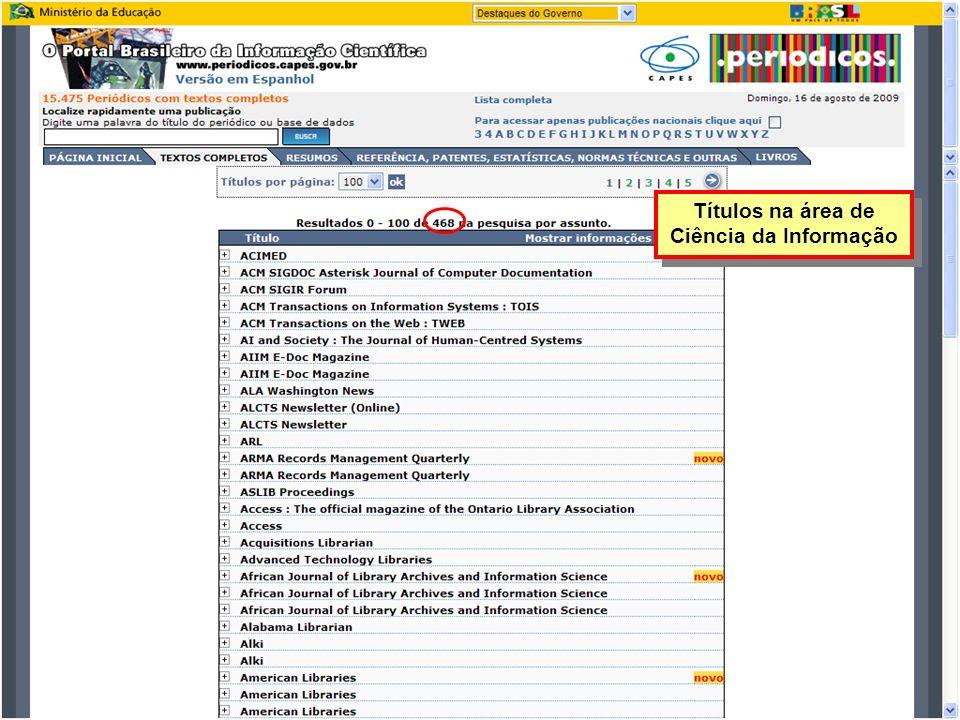 Títulos na área de Ciência da Informação