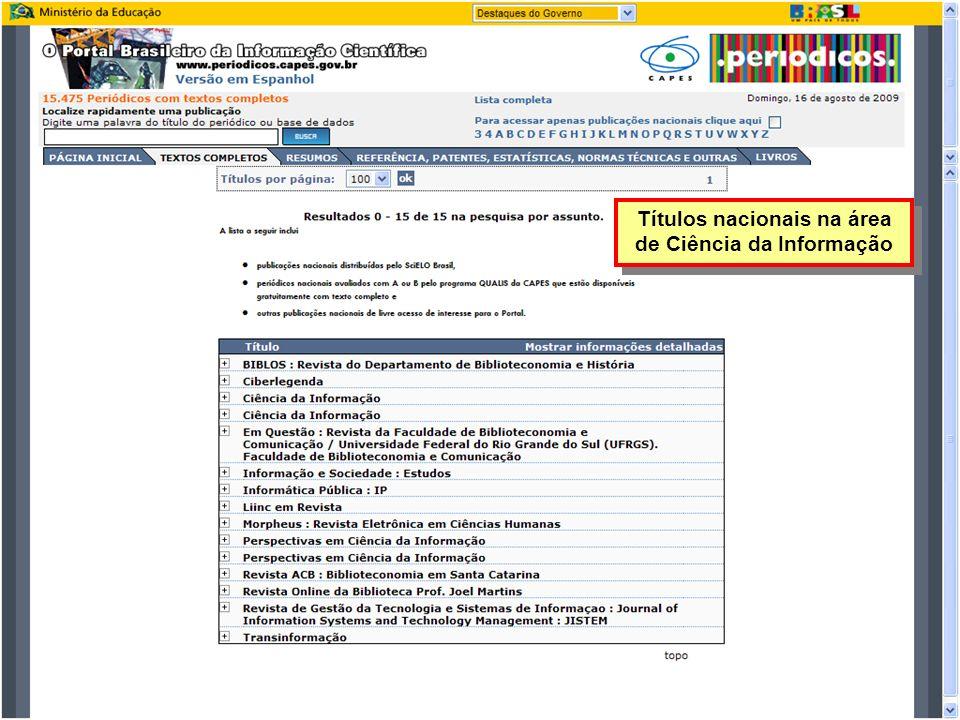 Títulos nacionais na área de Ciência da Informação