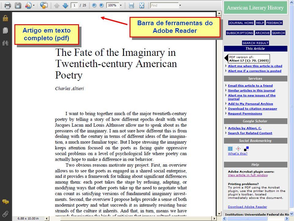 Barra de ferramentas do Adobe Reader Artigo em texto completo (pdf)