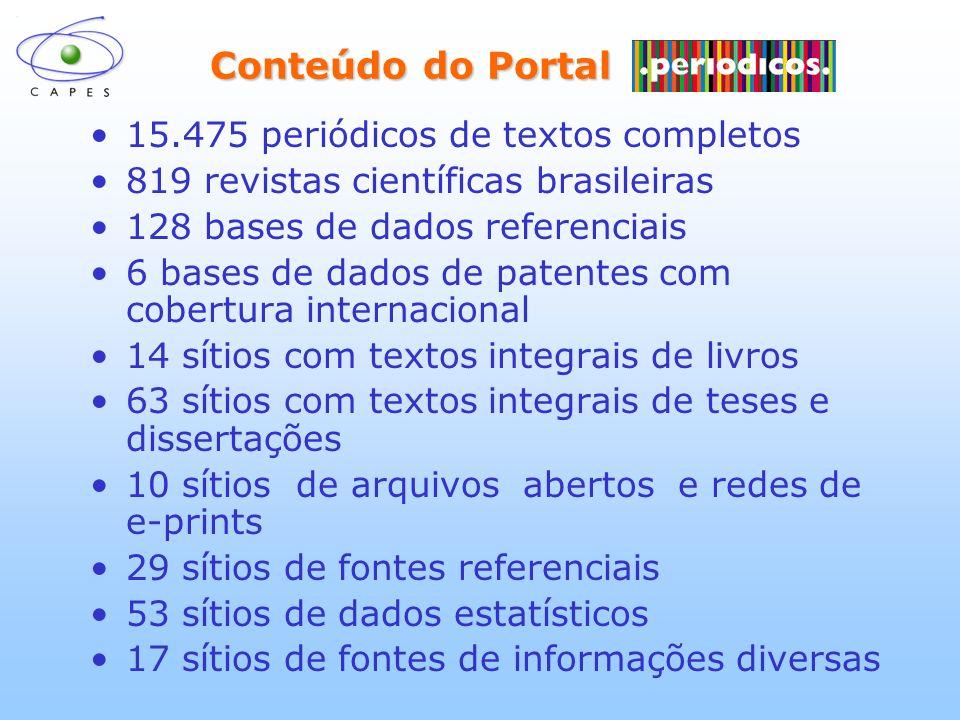 Conteúdo do Portal Conteúdo do Portal 15.475 periódicos de textos completos 819 revistas científicas brasileiras 128 bases de dados referenciais 6 bas