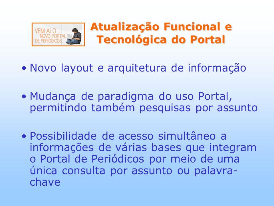 Atualização Funcional e Tecnológica do Portal Atualização Funcional e Tecnológica do Portal Novo layout e arquitetura de informação Mudança de paradig