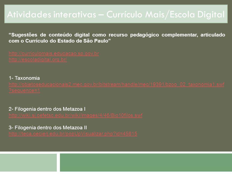 Atividades interativas – Currículo Mais/Escola Digital Sugestões de conteúdo digital como recurso pedagógico complementar, articulado com o Currículo