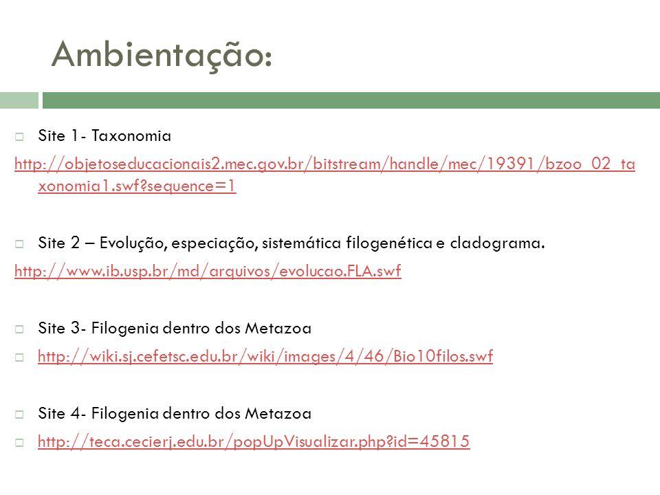 Ambientação: Site 1- Taxonomia http://objetoseducacionais2.mec.gov.br/bitstream/handle/mec/19391/bzoo_02_ta xonomia1.swf?sequence=1 Site 2 – Evolução,