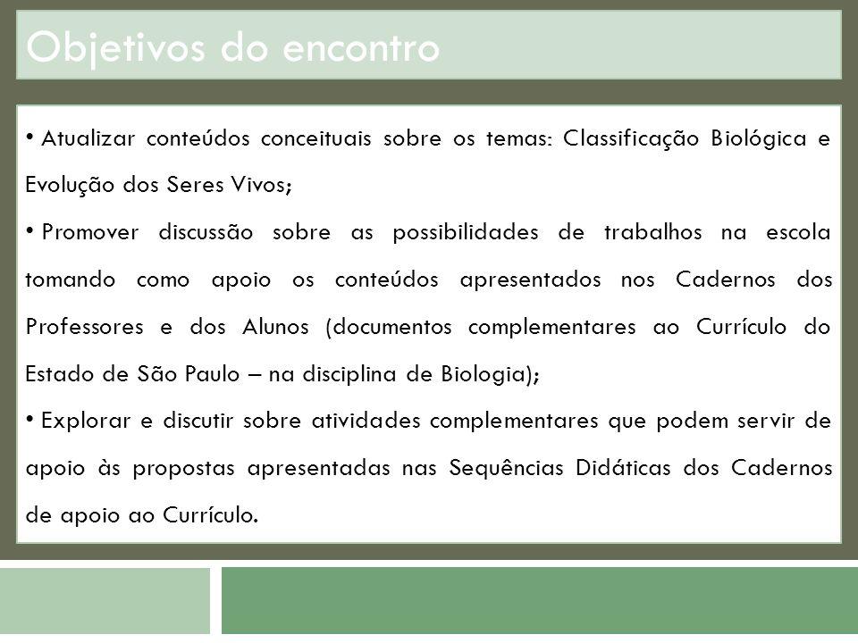 Objetivos do encontro Atualizar conteúdos conceituais sobre os temas: Classificação Biológica e Evolução dos Seres Vivos; Promover discussão sobre as