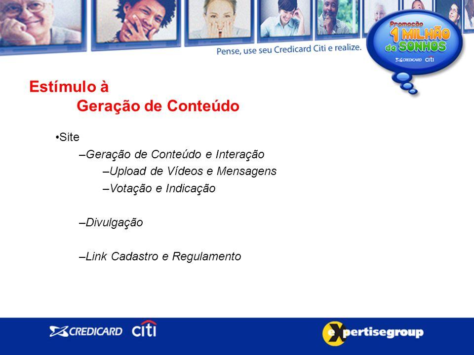 Estímulo à Geração de Conteúdo Site –Geração de Conteúdo e Interação –Upload de Vídeos e Mensagens –Votação e Indicação –Divulgação –Link Cadastro e Regulamento