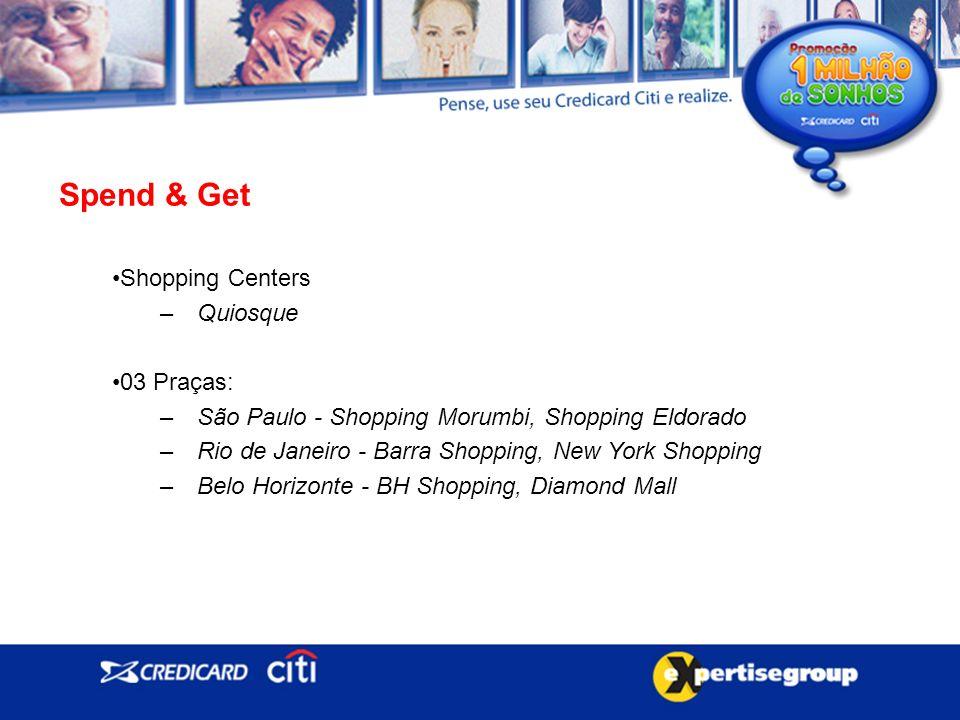 Spend & Get Shopping Centers –Quiosque 03 Praças: –São Paulo - Shopping Morumbi, Shopping Eldorado –Rio de Janeiro - Barra Shopping, New York Shopping –Belo Horizonte - BH Shopping, Diamond Mall